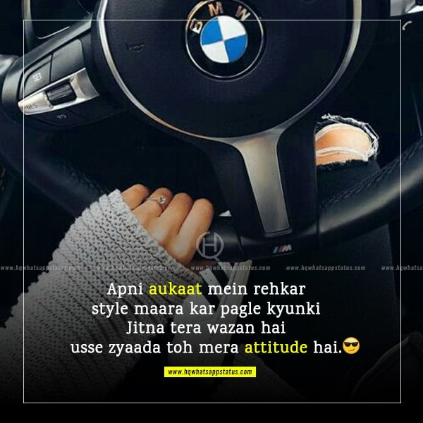 status in hindi for girls attitude